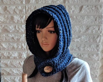 Women's chunky scood, blue scoodie, women's hooded scarf, blue hooded cowl, women's accessories, gifts for her, fall, winter, spring fashion