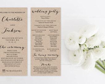 Rustic Wedding Program Template Print, Kraft Custom Printable Program, Printable Digital Ceremony Program, 4x9