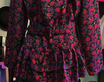 1980's Multi Colored Flowered Dress by Jody Still Has Original Price Tag On It Size: 11/12