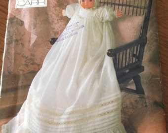 "Christening gown, Vogue christening dress pattern, christening dress for 16"" doll, heirloom sewing christening gown, Linda Carr doll dress"