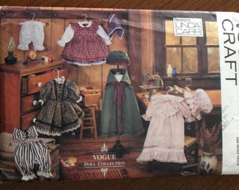 Early American Doll Clothes Pattern, vintage 18 inch doll clothes pattern, vintage Vogue pattern, doll cape and hat, nightgown and cap,
