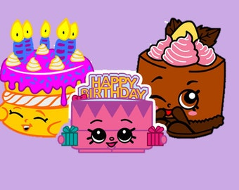 "Embroidery Digital Files - Cake Trio Deal! Shopkins Cheese Louise Cake, Birthday Betty Cake, Wishes Birthday Cake - 4x4"" 5x7"" 6x10"""