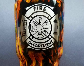 Personalized Hydrographic Firefighter Fireman Stainless Steel Tumbler with Shield Tumbler Hogg  30oz