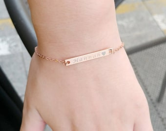 Custom Name Bracelet, Engraved Bar Bracelet, Custom Bracelet, Friendship Bracelet, Personalized Bar Bracelet, Bridesmaid Gift,Christmas Gift