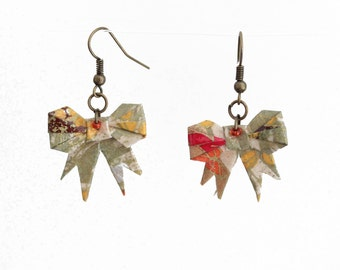 Origami bows khaki and multicolored, jewelry in traditional Japanese washi paper in the colors of autumn earrings