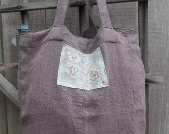 linen tote, linen bag, up-cycled, reusable cloth bag, eco-friendly