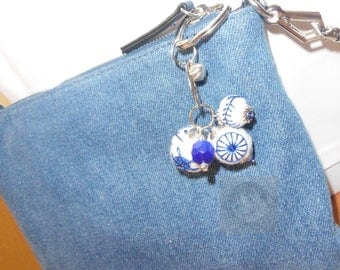 Key ring with embroidered blue felt beads