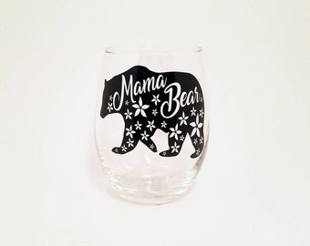 Mama Bear Glass, Floral Mama Bear, Mama Bear Gifts, Mama Bear Wine Glass, Bear Wine Glass, Bear Gift, Floral Wine Glass, Floral Bear, Bear