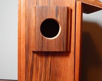 Vintner's Redwood Birdhouse, Modern Custom Wood Birdhouse Made From Reclaimed Redwood