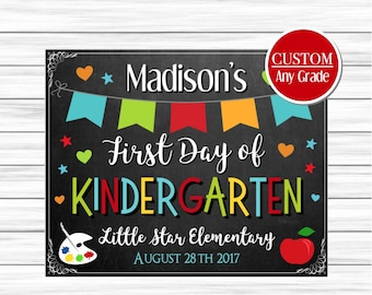 First day of kindergarten sign, First day of school chalkboard, First day of school sign, Back to school sign, First day sign printable