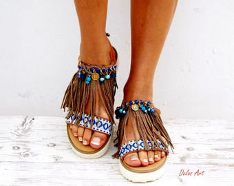 "Boho Fringe Sandals, Handmade Sandals, Greek Sandals, ""Leila\""  hippie sandals, Bohemian sandals"