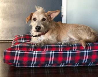 Red & Navy Plaid Dog Bed // Large