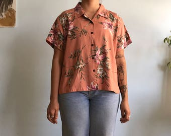 Vintage sz XL salmon pink hawaiian shirt