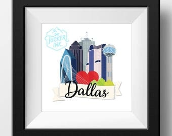 Dallas, Texas Skyline Illustration {wall art gift print city cityscape downtown}