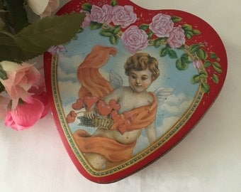Vintage Heart Shaped Valentine's Tin