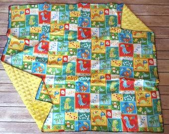 Minky Dinosaur Baby Blanket, Baby Boy Blanket, Embroidered Dinosaur Blanket, Dinosaur crib Bedding, Dinosaur baby shower gift, personalized