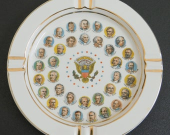 Vintage Presidents of the United States of America Ashtray, Chadwick Miller, Travel Souvenir, Washington, Collectible, Coin, Trinket Dish