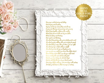 Wedding Poem / Gold Foil Wedding Poems / Silver Foil Wedding Sign / Love Wedding Quote / Luxurious Wedding Gift / Marriage Poems