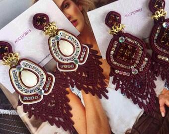 Burgundy Fashion Earrings,  Fashion Jewelry,  Fashion Earrings, Lace Earrings, Chandelier Earrings, Handmade Earrings, Statement Earring
