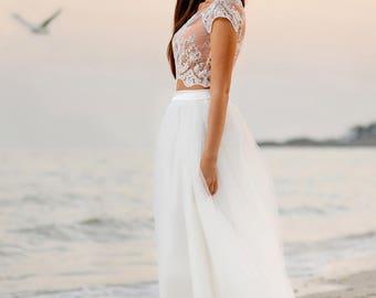 Lace Bridal Top, Wedding Lace Top, White Lace Top, Bridal Seperates, Bridal Crop Top, Bridal Lace Bolero