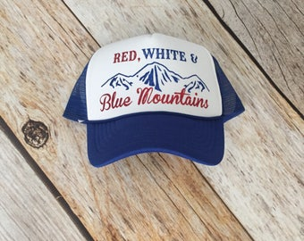 Red, White and Blue Mountains Trucker Hat - Red and Blue Glitter, Blue and White Trucker Hat, Coors Light