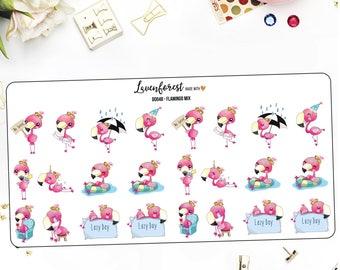 flamingo planner stickers, flamingo stickers, stickers, no spend planner stickers, lazy day stickers, personal planner D0048