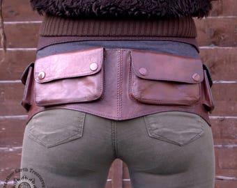 HIPPACK   Brown Leather Bum Bag, 6 Pocket Belt Bag, Waist Bag, Fanny Pack, Waist Pouch, Waist Pack, Travel Belt, Utility Belt   CLEARANCE