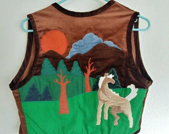 Vintage Sunset Horse Vest and Skirt (USA made)