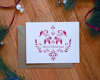 Dala Horse | Merry Christmas | Scandinavian | Swedish Christmas | Christmas Card