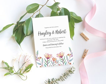 Protea Wedding Invitation / Printable Wedding Invite / Bohemian Wedding Invitation / Floral Invitation / Rustic Wedding Invitations template