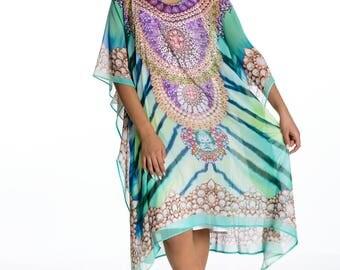 caftans, kaftan, short kaftan dress, plus size dress, beach kaftan digital print embellished caftan dress beach tunic