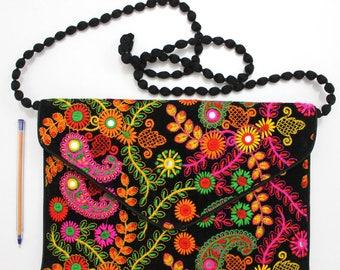 Handmade Ethnic Designer Tribal Banjara Patchwork Embroidered Hippy Fashionable Stylish Trendy Hippie Gypsy Boho Bohemian Clutch Bag F295