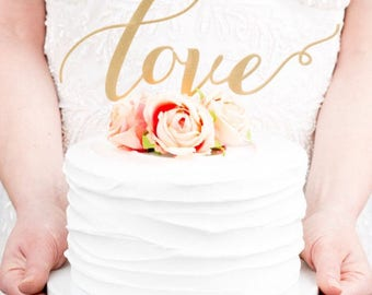 READY TO SHIP Love Cake Topper / Wedding Cake Topper / Gold Fiberboard Cake Topper