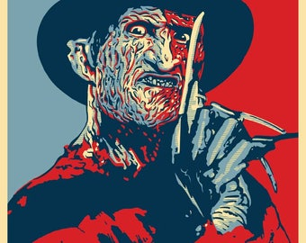 """FREDDY 2020 """"HOPE"""" Style Election Posters - 11 x 17 inches - A Nightmare on Elm Street"""