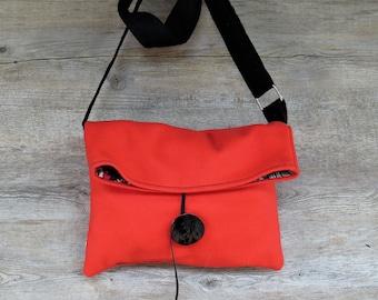 Red wool shoulder bag, fabric shoulder strap, fabric bag, hand-made bag, red shoulder strap, small shoulder strap, red handbag