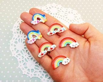 6pc Small Assorted Rainbow Kawaii Resin Flatback Cabochon Scrapbook Decoden Craft DIY