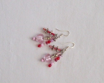 HM Red Heart Crystal Charm Earrings with Sterling Silver Wire