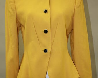 Vintage Taxi Cab Yellow Blazer Big Padded Shoulders with Black Buttons by Kasper  1980 1990 New With Tags New Old Stock Size 10 Petite