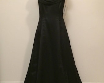 90's Black Draped Front Open Back Prom Dress with Spaghetti Strap Size Small 4 6 | Cowl Front | Vintage ONYX Nites | Bridesmaid Dress