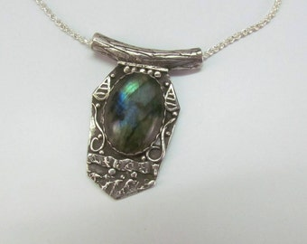 "Item 6104 - ""Drop of Aurora"" Handcrafted & sculpted 999 Fine and Sterling Silver set with Stunning Labradorite"
