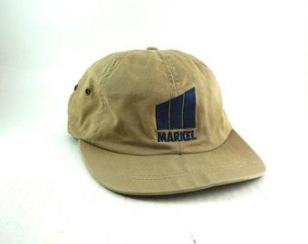 Vtg Khaki Markel Vintage Dad Hat // Low Provide Baseball Cap // Adjustable Leather Strapback // USA Made