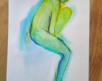 Sketch model living ink female nude