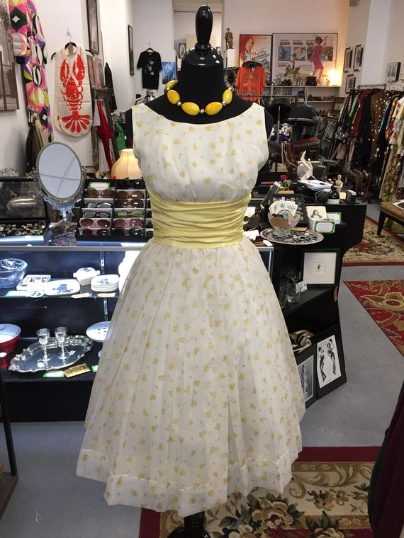 Vintage 1960s Midcentury Yellow and White Chiffon and Satin Party Cocktail Dress