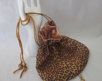 Vintage Style Drawstring Purse. Evening Accessory. Leopard Skin Print with Gold Tassel and Beads