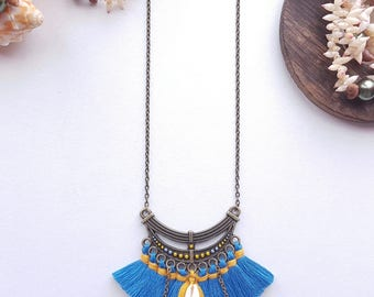 Long tassels and shells, tassels bondi blue and mustard yellow long necklace hippie chic and Bohemian chic