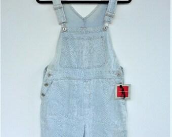 Vintage Gloria Vanderbilt Dungarees Splash Denim Overall Shorts - Size Small - NWT