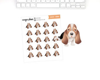 Basset Hound Planner Stickers | 20 Dog Stickers for ANY Planner
