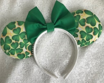Inspired Shamrock St. Patrick's Day Clover Mickey Minnie Mouse Ears