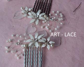Silver Bridal Hair accessories for women White Ivory Flower wedding Head piece Jasmine Hair accessories white flower decorative hair comb