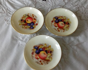Lovely Aynsley Butter Pats - Signed Aynsley Bone China Butter Pats - Fruit with Gold Trim Butter Pats - Vintage